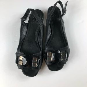 TORY BURCH EMBEZZLEMENT OPEN TOE  BLACK SANDALS